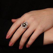 Золотое кольцо с жемчужиной и бриллиантами Rosie