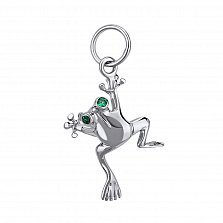 Серебряный шарм- кулон Лягушка с нанокристаллами