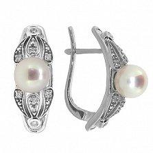 Золотые серьги с бриллиантами и жемчугом Ассоль