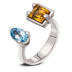 Серебряное кольцо Яркое лето с цитрином и голубым топазом