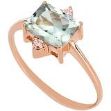 Золотое кольцо с зеленым аметистом и фианитами Мадлен