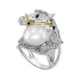 Кольцо Лошадь в белом золоте с цирконием