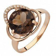 Золотое кольцо Космея с раухтопазом и фианитами