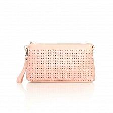 Кожаный клатч-косметичка Genuine Leather 8063 розового цвета с перфорацией