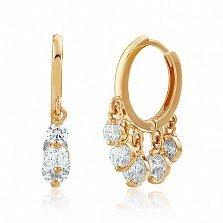 Золотые серьги с кристаллами Swarovski Айгуль