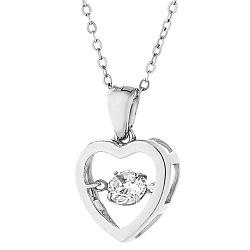 Серебряное колье Пламенное сердце с цирконием