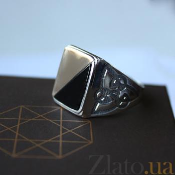 Серебряное кольцо с золотой вставкой и ониксом Гетьман BGS--478/1