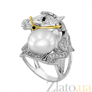 Кольцо Лошадь в белом золоте с цирконием VLT--ТТ1310