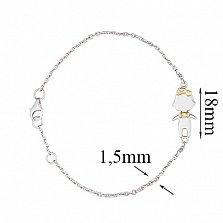 Золотой браслет Happy moms Boy в белом цвете с позолотой и бриллиантом, 1,5мм