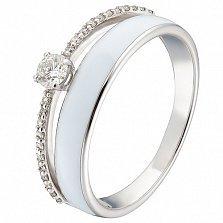 Кольцо в белом золоте Алина с бриллиантами и эмалью