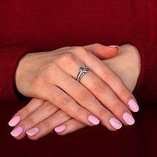 Серебряное кольцо Рашель с кварцем цвета танзанит и фианитами