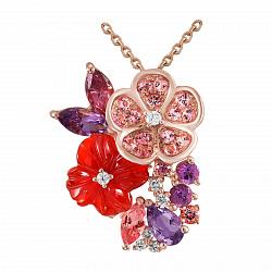 Золотой кулон с бриллиантами, аметистами, родолитами, топазами и агатом Лоретта 000037962