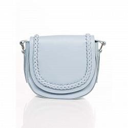 Кожаный клатч-седло Genuine Leather 1826 голубого цвета с декоративной косой на клапане 000092012
