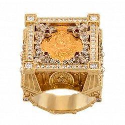 Дизайнерский перстень-печатка в красном золоте с монетой и фианитами 000095771
