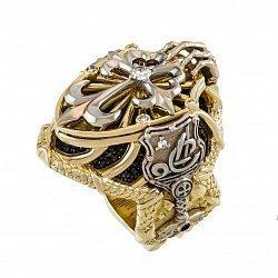 Золотой перстень-печатка Щит и Меч с инициалами в комбинированном цвете с цирконием 000095776