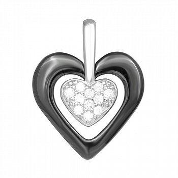 Серебряный подвес с керамикой и фианитами Romantic Date 000039214