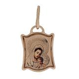 Ладанка в красном золоте Божья матерь с младенцем с эмалью