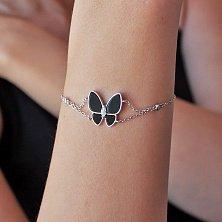 Серебряный браслет Смелая бабочка с черным ониксом и фианитами в стиле Ван Клиф