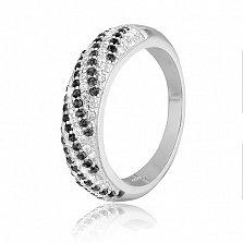 Серебряное кольцо с черными фианитами Каролина
