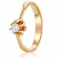 Золотое кольцо с кристаллом Swarovski Солнечный жасмин