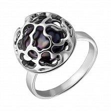 Серебряное кольцо Барокко с черным жемчугом