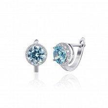 Серебряные серьги Рашель с фианитами цвета голубого топаза