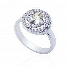 Серебряное кольцо Клубочек с цитрином и фианитами