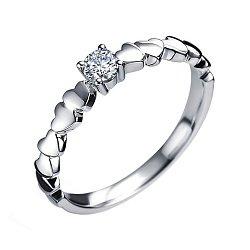 Помолвочное кольцо  в белом золоте с шинкой в сердцах и бриллиантом 000070617