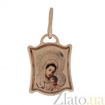 Ладанка в красном золоте Божья матерь с младенцем с эмалью 000023776