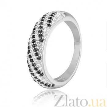 Серебряное кольцо с черными фианитами Каролина 000028151