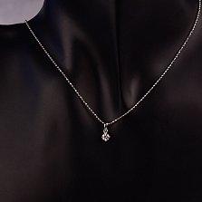 Серебряный кулон Джози с кристаллом Swarovski в стиле минимализм