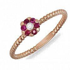 Кольцо Сесилия из красного золота с бриллиантом и рубинами