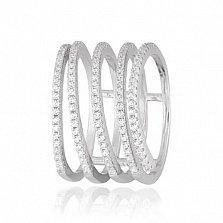 Серебряное кольцо Вихрь с дорожками белых фианитов