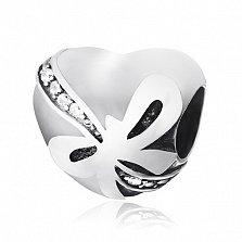 Серебряный шарм с фианитами Подарок-сердце
