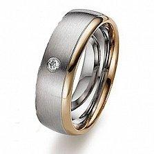 Золотое обручальное кольцо с фианитом Зов сердца