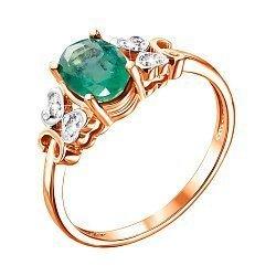 Кольцо из красного золота с изумрудом и бриллиантами 000134304