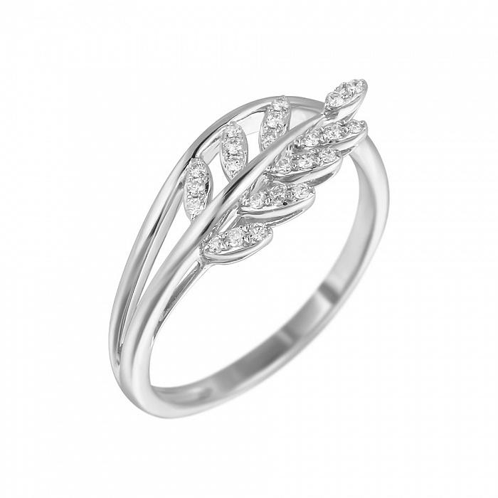 Кольцо из белого золота Акация с бриллиантами 000080968