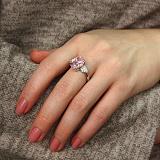 Серебряное кольцо Капля с розовым фианитом