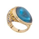 Золтое кольцо с топазами и бриллиантами Leda
