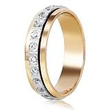 Золотое обручальное кольцо с фианитами Принцесса