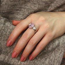 Серебряное кольцо Сладкая капля с розовым и белым цирконием