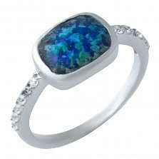 Серебряное кольцо Розалинда с синим опаломи и белыми фианитами на шинке