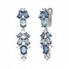 Серебряные серьги Люсьен с кварцем под лондон топаз, голубым кварцем и фианитами