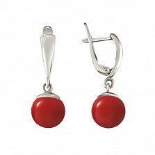 Серебряные серьги-подвески Рябина с красными кораллами