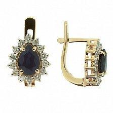 Золотые серьги с бриллиантами и сапфирами Фрида