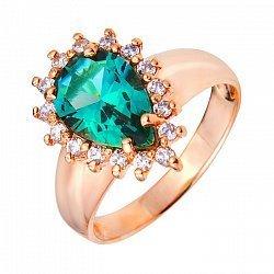 Кольцо из красного золота с зеленым кварцем и фианитами 000103554