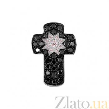 Золотой крест с черными бриллиантами Вечерняя звезда 000027283