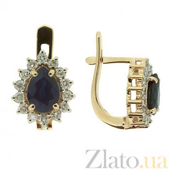 Золотые серьги с бриллиантами и сапфирами Фрида ZMX--EDS-5551_K