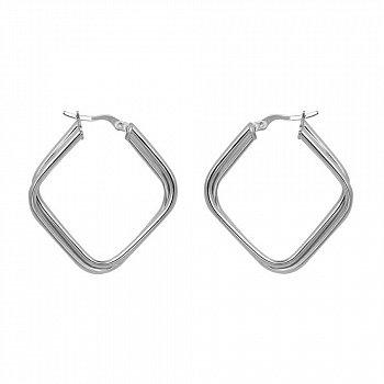Серебряные серьги-конго в стиле минимализм 000100384