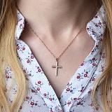 Золотой крестик Мирра в красном цвете с бриллиантами